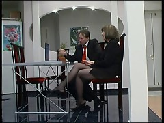Mature in pantyhose fucked by young guy