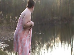 bbw mature swimming 2