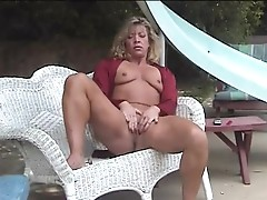 mature masturbation in garden