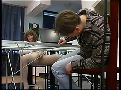 Mature in pantyhose screwd on table