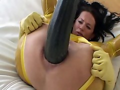 Mature with giant zucchini in the ass