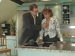 Busty Mature Milf in Stockings Sucks Hubby Fucks Lad