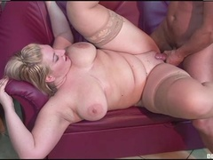 Fat blonde Zazi sucks a dick