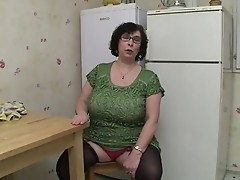Busty Granny in Stockings and Glasses Fucks