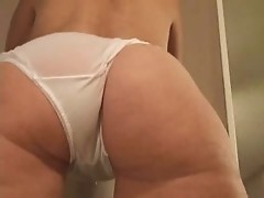Hot milf ass in white sheer panties