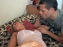 Mature blonde whore fucking hard while she sleeping