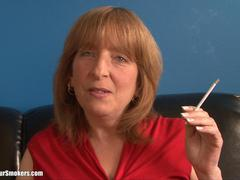 Mature older woman smoking cigarette with your legs