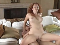 Curly milf eats nuts and gets gagged by horny lover