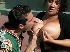 Mature milf seduces youngster by her huge titties