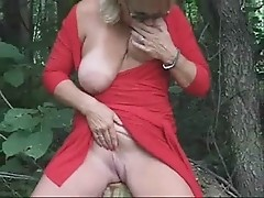 mature wife having fun outdoor