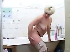 Mature, Mom, Milf, Housewife mom and young son fucks in tub