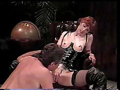 Classic clip of horny redhead sucking his cock and fucking