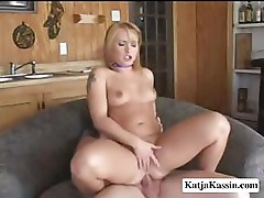 Katja Kassin takes both cocks and uses all of her fuck holes