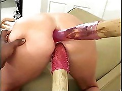 Huge dildos go in her fuck holes before the hard cocks do