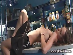Hot waitress without underwear