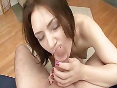 Cute Sarah Shevon sucks and fucks his big cock and gets mouthful
