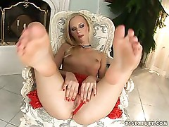 Blonde In Red Lingerie Presents Her Sexy Feet