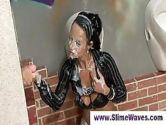 Lady gets completely covered in cum