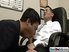 Stud gets cock sucked at work by hardonjob