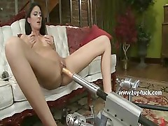 Gang of sexy girls using electric fuck machines to pleasure their hot pussies