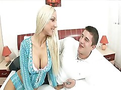 Blonde babe sucks and fucks this guy in her stiletto shoes
