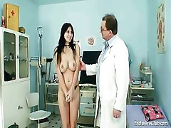 Busty Adriana gets an exam with weird tools being put in her pussy
