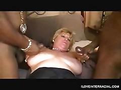 Two Black Dicks DP Mature White Woman