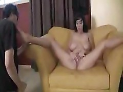 Alia Janine has big boobs and bends over to get her pussy fucked