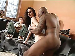 Natalie and Patricia Diamond take on a large black cock and anal