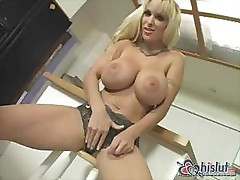 Holly Halston is a blonde babe with big tits and nice pussy
