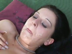 Filthy Renee Pornero loves getting drenched in warm cum