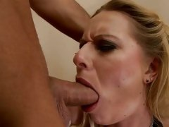 Riley Evans rips her mouth with an awesome cock