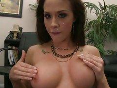 Chanel Preston rubbing the cum on busty boobs