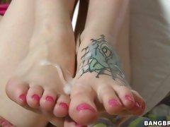 Hot cock jerking blonde gets feet cum covered