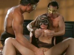 Devon Lee busty babe and hot guys with mask get horny