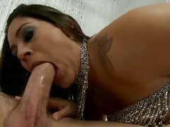 Raylene sexy girl in glittering outfit suck hot dick