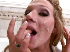 Nikki Sexxx sweet babe licking the cum on her fingers