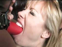 Adrianna Nicole and Sinnamon Love blowing a red dildo
