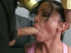 Jewels hottie slut get a hard facial on couch