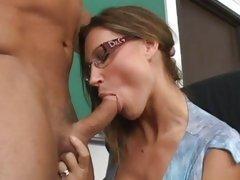 Nasty slut Devon Lee rams a hard dick down her throat