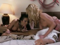 Alektra Blue and Victoria White share with bald's dick