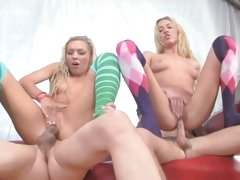 Ally Kay and Victoria White sits on an erected cock
