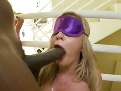 Blindfolded Bree Olson sucks off a thick black shaft