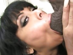 Sienna West cougar deep throat sucking a black cock