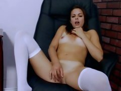 Renee Perez naughty babe stiptease on chair