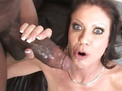 Vanessa Videl gets a mouth full of warm jizz