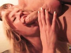 Foxy blonde Victoria White eating big juicy bone