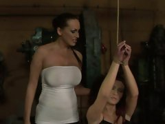 Mandy Bright hot babe tie the hand of lusty chick