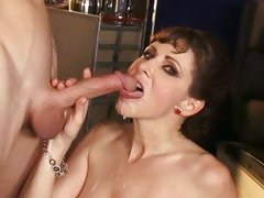 Alexandra Silk drinking the warm man-milk black dick