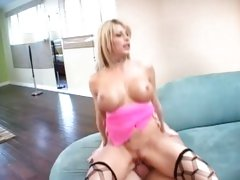 Busty Brooke Haven bounces her snatch on a huge prick